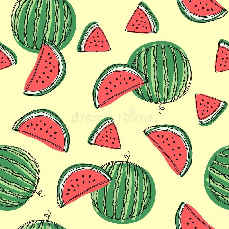 Wassermelone schneidet nahtloses Muster Übergeben Sie Vektorillustration des abgehobenen Betrages auf lokalisiertem weißem Hinter vektor abbildung