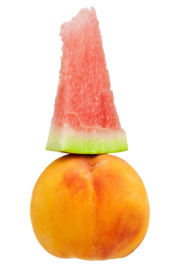 Wassermelone und Pfirsich stockbilder