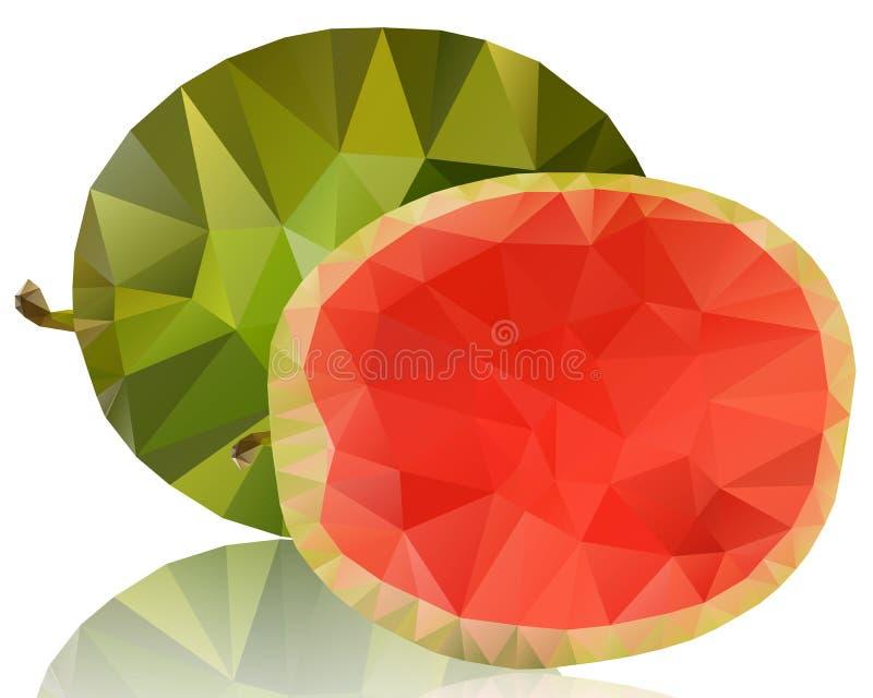 Wassermelone von Polygonen auf einem weißen Hintergrund stock abbildung