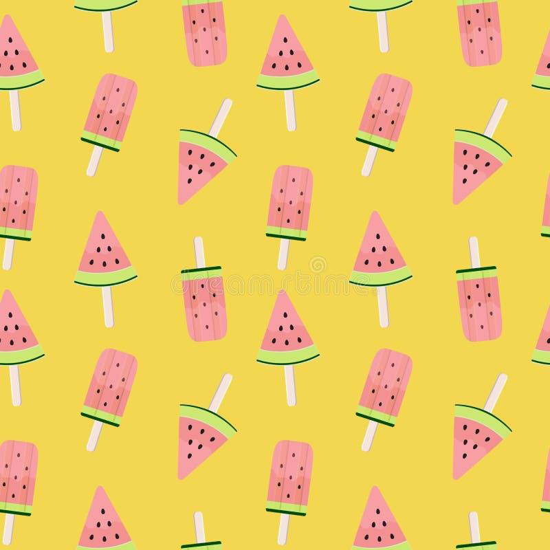 Wassermelonen-Eiscreme-nahtlose Muster-Hintergrund-Vektor-Illustration vektor abbildung