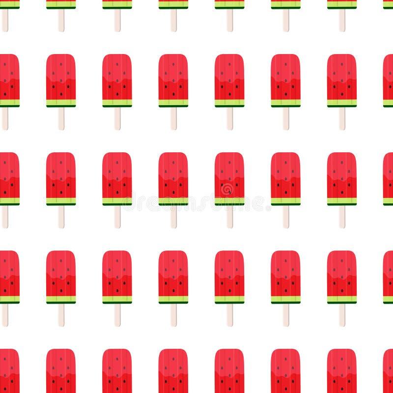 Wassermelonen-Eiscreme-nahtlose Muster-Hintergrund-Vektor-Illustration lizenzfreie abbildung