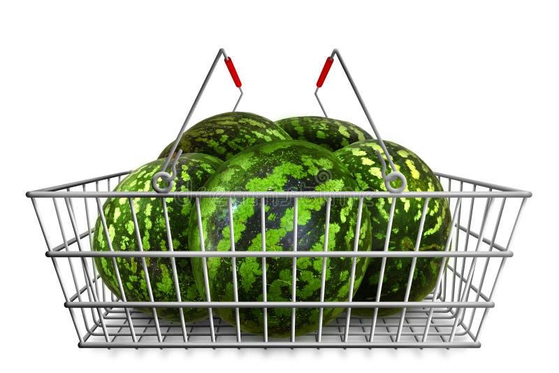 Wassermelonen im Einkaufskorb am weißen Hintergrund lokalisiert Organisches vegetarisches Lebensmittel lizenzfreie stockfotografie