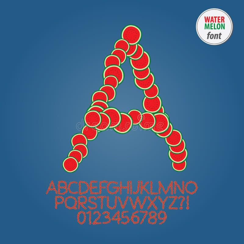 Wassermelonen-Scheiben-Alphabet und Stellen-Vektor vektor abbildung
