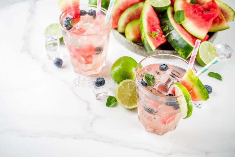 Wassermelonen- und Blaubeerlimonade stockfotografie
