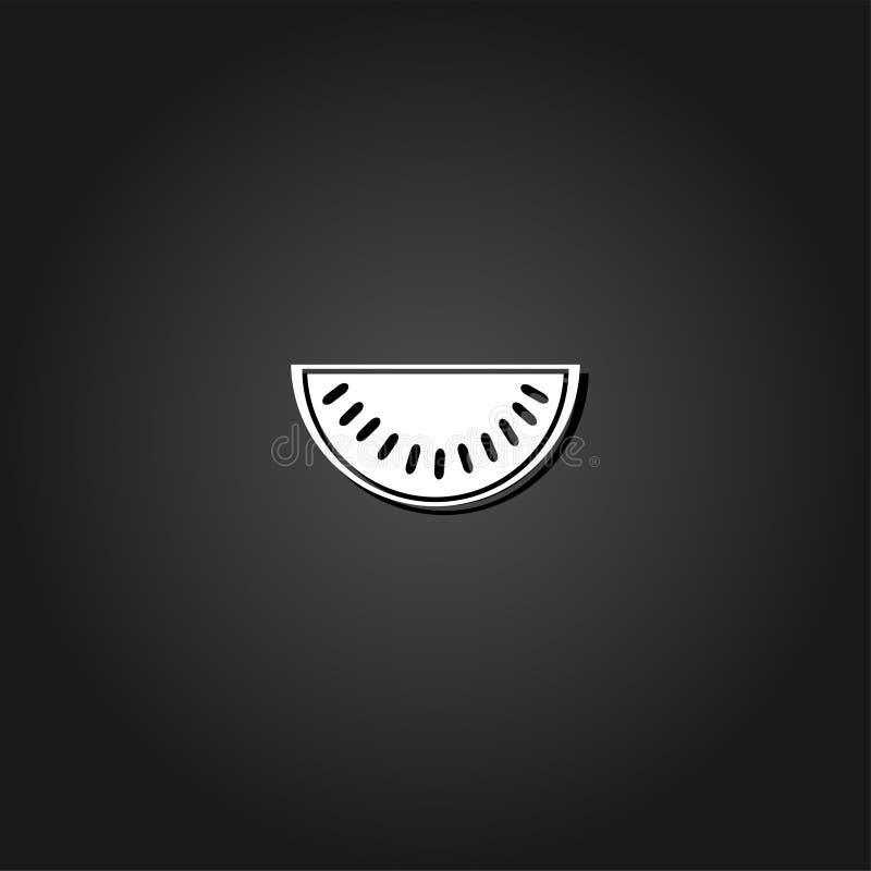 Wassermelonenikone flach vektor abbildung