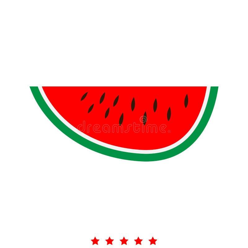 Wassermelonenikone Flache Art stock abbildung