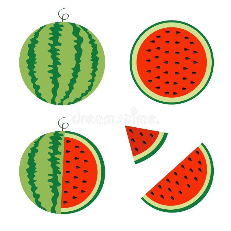 Wassermelonenikonensatz Ganzer reifer grüner Stamm Halbe Samen des Scheibenschnittes dreieck Grüne rote runde Fruchtbeeren-Fleisc lizenzfreie abbildung
