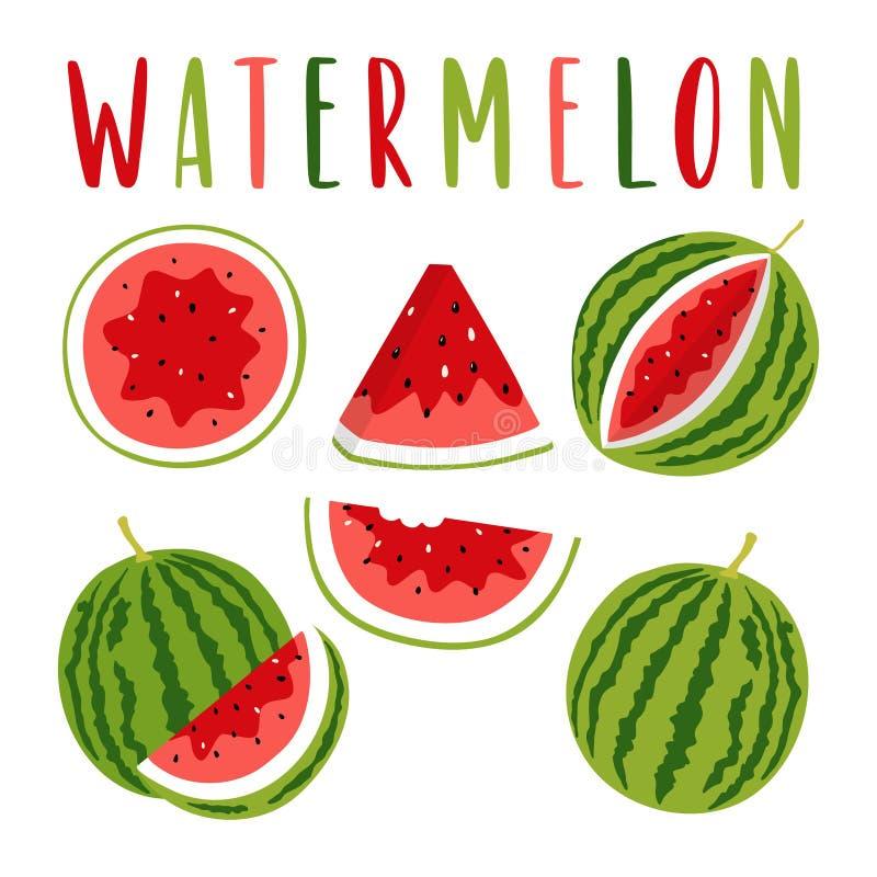 Wassermelonenillustration stellte mit der Beschriftung ein, lokalisiert auf weißem Hintergrund lizenzfreie abbildung