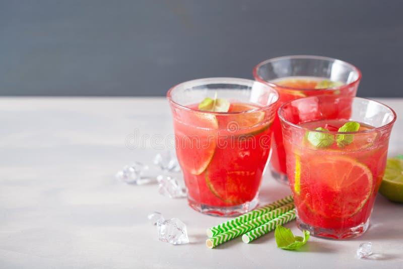 Wassermelonenlimonade mit Kalk und Minze, Auffrischungsgetränk des Sommers lizenzfreies stockbild