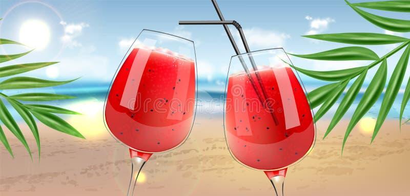 Wassermelonensaft in Gläser Vektor realistisch Organische natürliche saftige Illustrationen der Erfrischung 3d des neuen Smoothie lizenzfreie abbildung