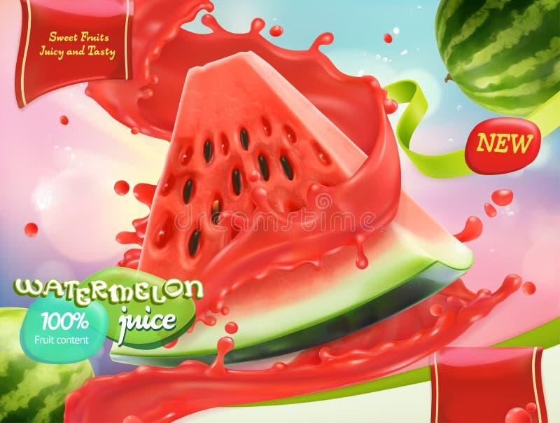 Wassermelonensaft Süße Früchte Vektor 3d lizenzfreie abbildung