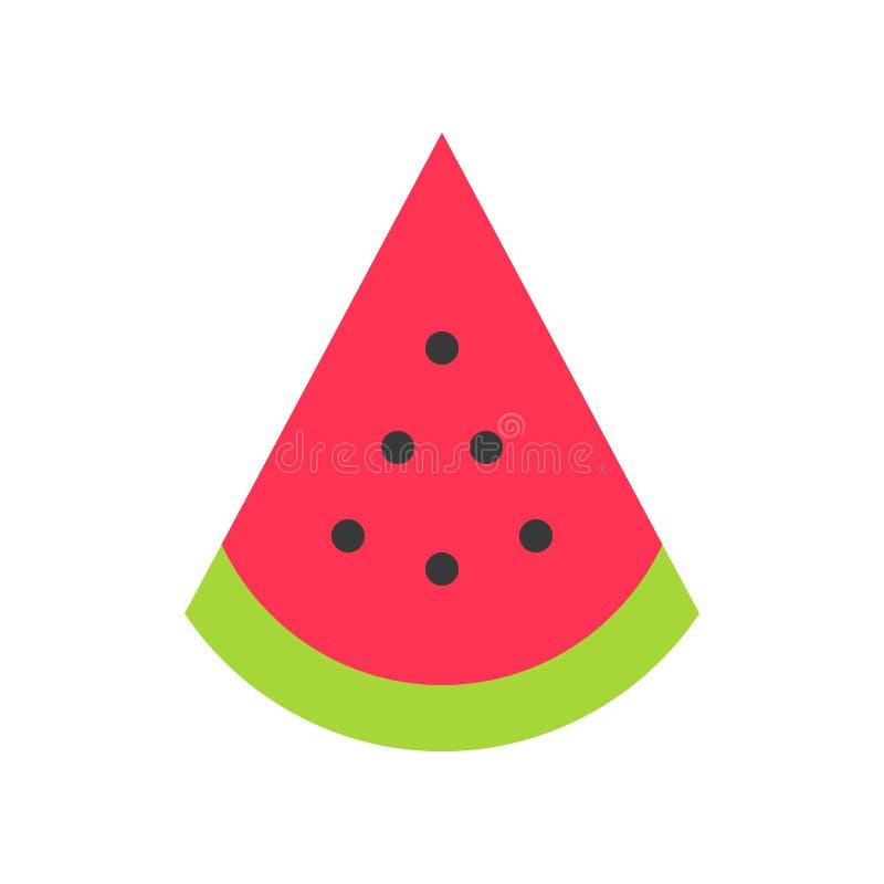 Wassermelonenscheibenvektor, tropische in Verbindung stehende flache Artikone vektor abbildung