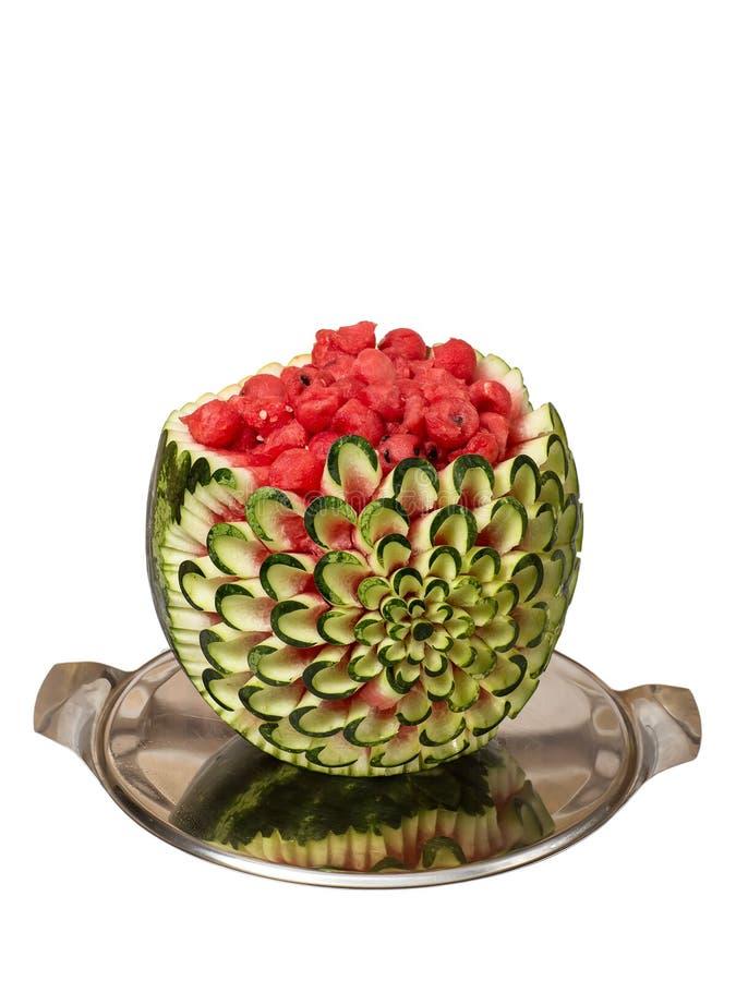 Wassermeloneschnitzen stockbilder