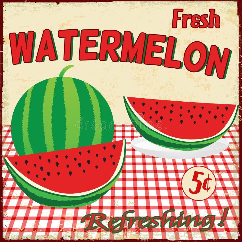 Wassermeloneweinleseplakat stock abbildung