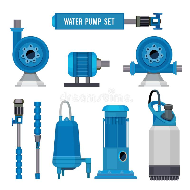 Wasserpumpen SYSTEMabwasseraquakontrollstations-Vektorikonen der elektronischen Pumpe der Industriemaschinen Stahl lizenzfreie abbildung