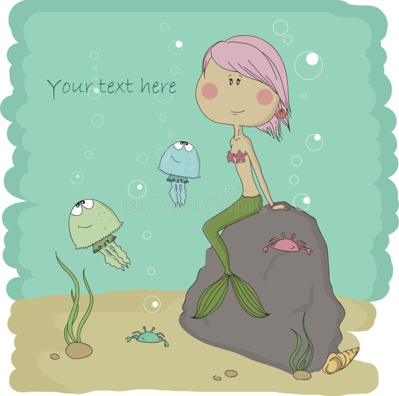 Wasserreich. Illustration der kleinen Meerjungfrau. lizenzfreie abbildung