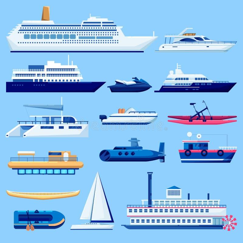 Wasserschifftransport-Ikonensatz Flache Fahrzeugillustration des Vektors Segelboote, Kreuzschiff, Yacht auf blauem Hintergrund vektor abbildung
