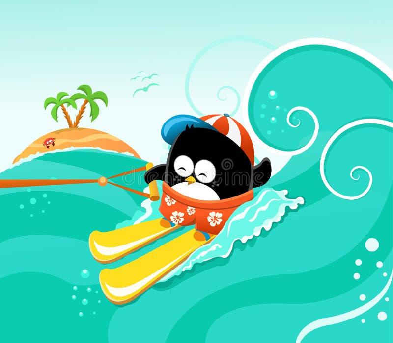 Wasserskifahren-Pinguin stock abbildung