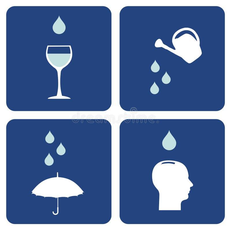 Wassersorgfalt-Ikonenaufbau lizenzfreie abbildung