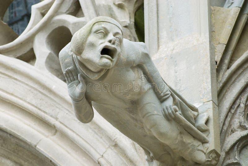 Wasserspeier an der Wand des Basilique-Heilig-Nazaire-und-Heiligen-Celse in Carcassonne, Frankreich lizenzfreies stockfoto