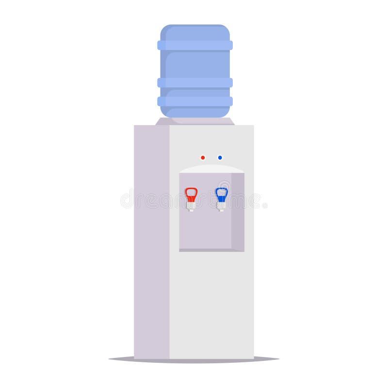 Wasserspender für Büro und Haus Grauer Wasserspender mit großer blauer Plastikflasche voll Wasser Vektorillustration in der flach vektor abbildung