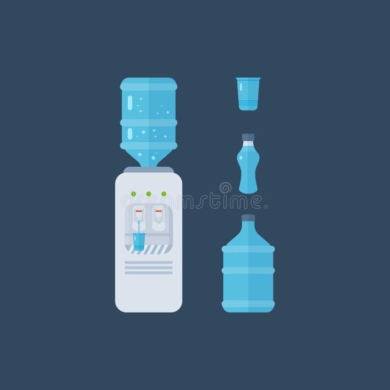 Wasserspender Flaschenbüro, -plastik und -flüssigkeit vektor abbildung