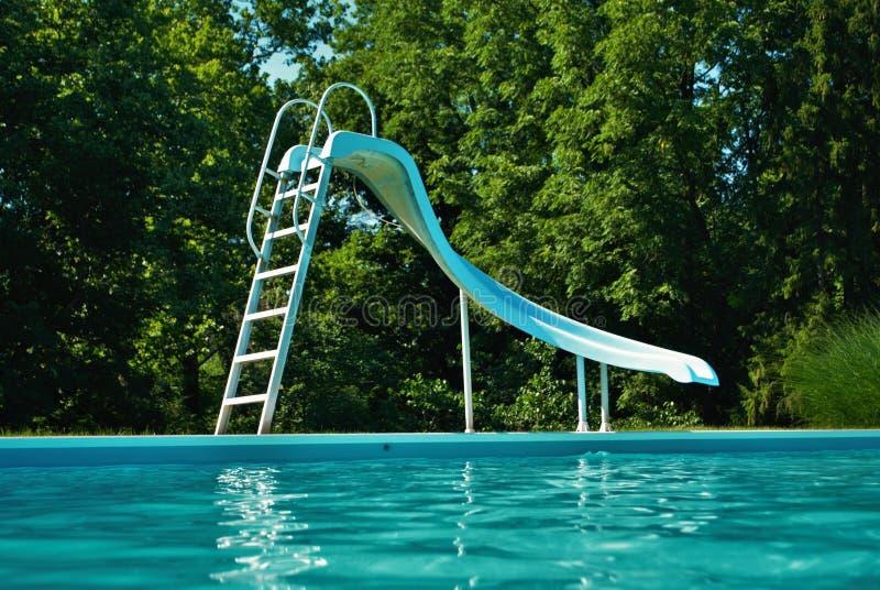 Wasserspiegelansicht eines Poolside an einem hellen und sonnigen Tag lizenzfreie stockfotografie