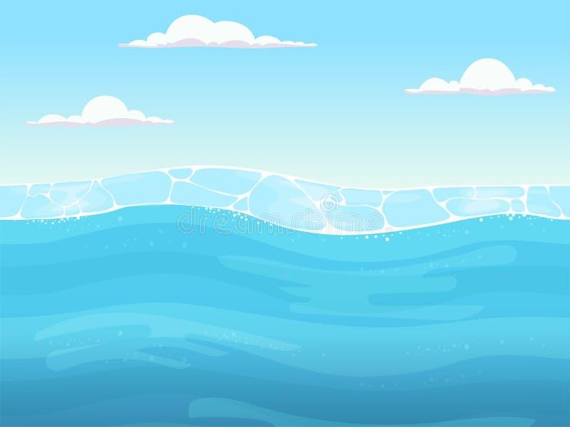 Wasserspiel nahtlos Flüssiger blauer Oberflächenhintergrund für 2d Spieldesignerozeanfluß oder -meer mit Wellenvektor vektor abbildung