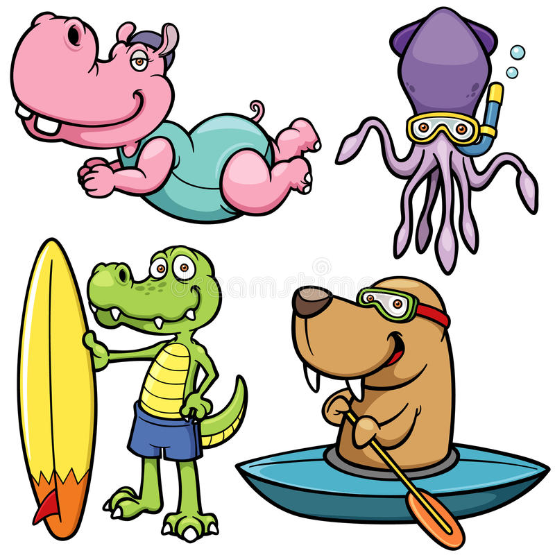 Wassersport-Tiercharakter vektor abbildung