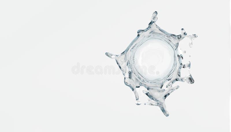 Wasserspritzen auf weißem Hintergrund 3D übertragen lizenzfreie abbildung