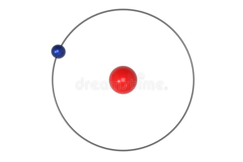 Wasserstoff-Atom Bohr-Modell mit Proton, Neutron und Elektron stock abbildung