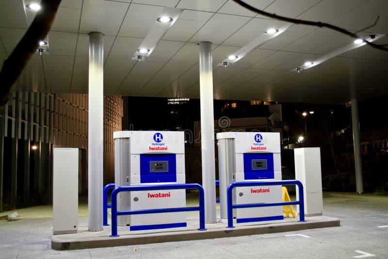 Wasserstoff, der Station tankt stockbilder