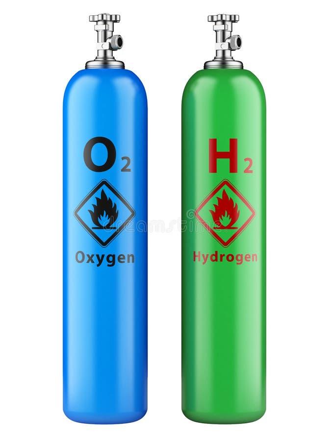 Wasserstoff und Sauerstoff-Flaschen mit komprimiertem Gas stock abbildung