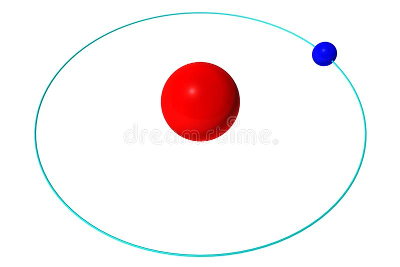 Wasserstoffatom lokalisiert auf weißem, rotem Proton und blauem Elektron vektor abbildung