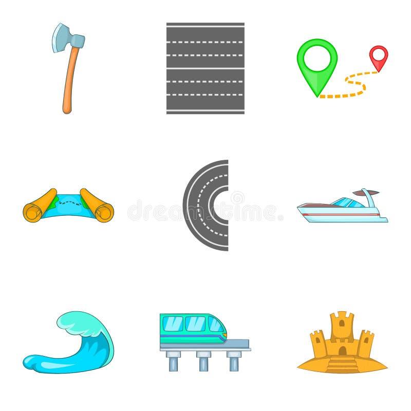 Wassertransportikonen eingestellt, Karikaturart lizenzfreie abbildung