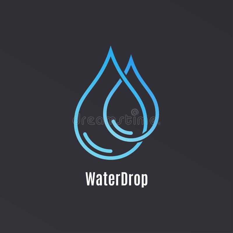 Wassertropfen-Logodesign Tröpfchenwasser auf Schwarzem lizenzfreie abbildung