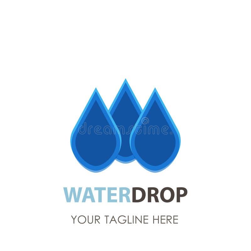 Wassertropfen Logodesign-Vektorschablone Natürliche Mineralaqua-oder Flüssigkeit Öl-Firmenzeichenkonzeptikone vektor abbildung