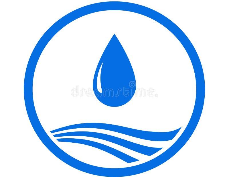 Wassertropfen und blaue Welle vektor abbildung