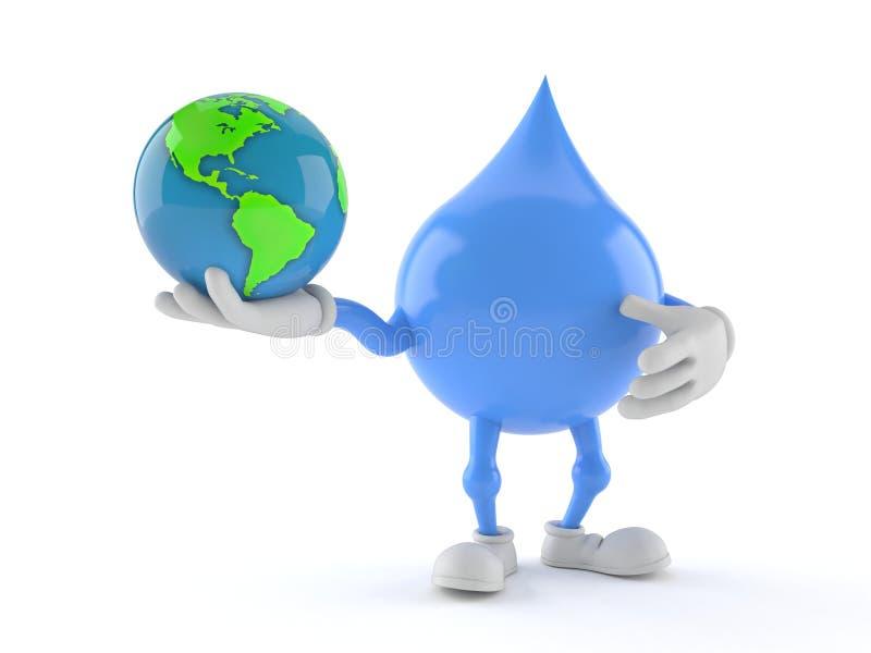 Wassertropfencharakterholding-Weltkugel lizenzfreie abbildung