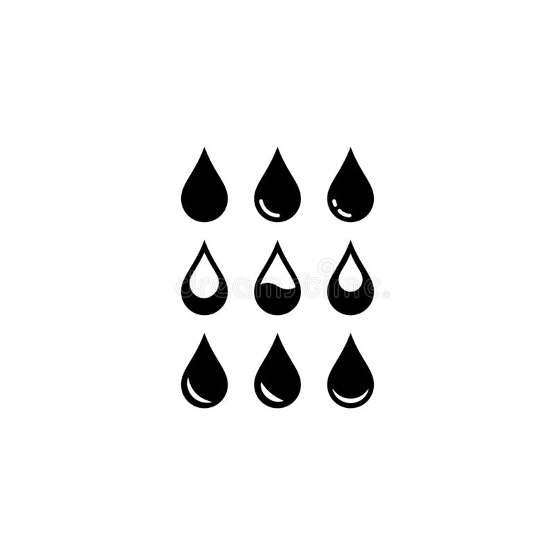 Wassertropfensatz schwarze lokalisierte Vektorikonen lizenzfreie abbildung
