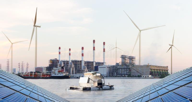 Wasserturbine vor Wärmekraftwerk, grüne Energie stockfotografie