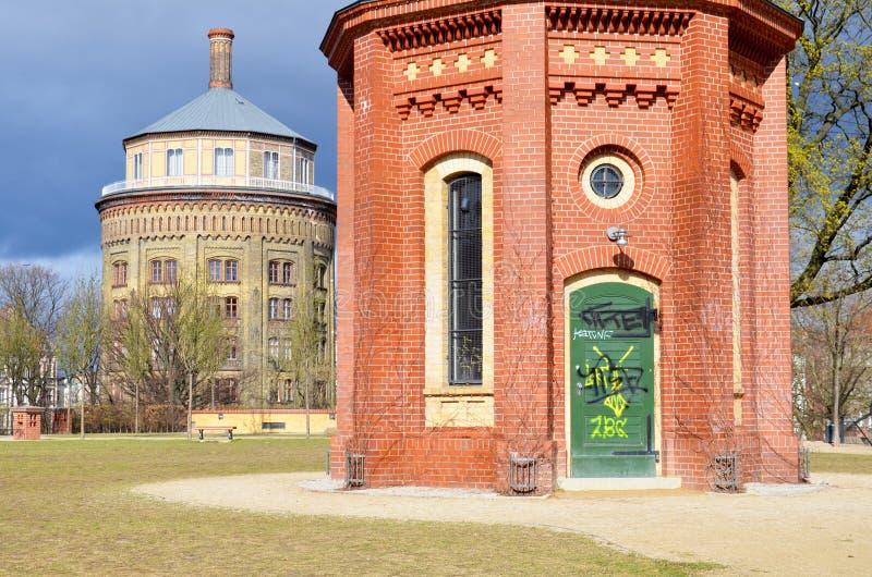 Wasserturm, Berlin Prenzlauer Berg in primavera fotografie stock