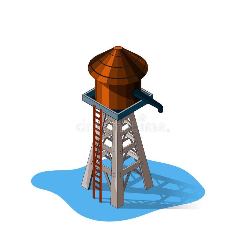 Wasserturm, lokalisiert auf weißem Hintergrund, isometrische Ansicht, Westen-Wasserturm stock abbildung