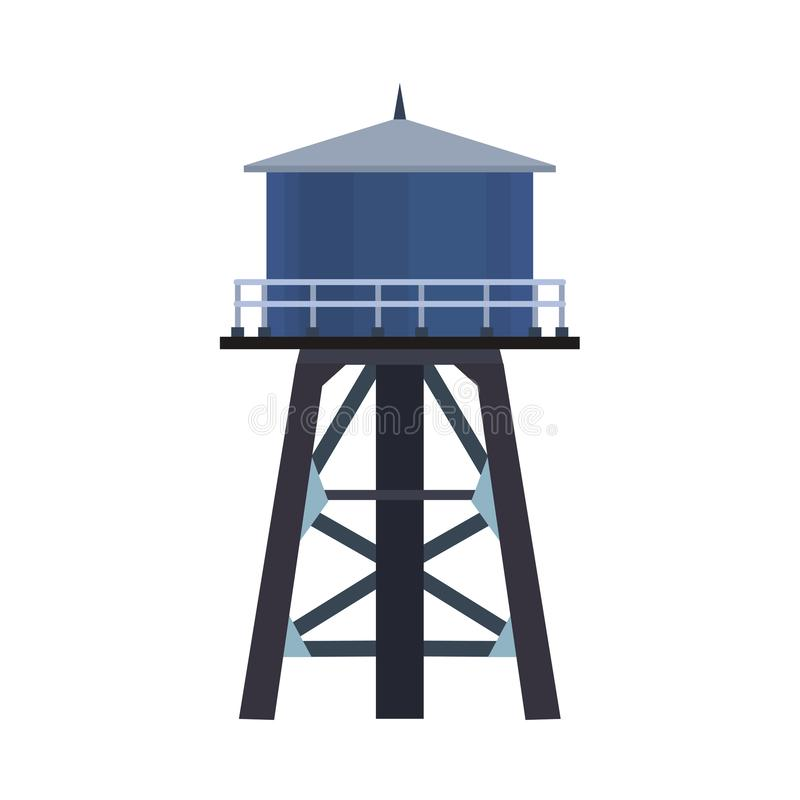 Wasserturmvektorikonen-Illustrationsbehälter lokalisierte weißes Industriearchitekturbehälterstruktur Blaues Reservoir hoch stock abbildung