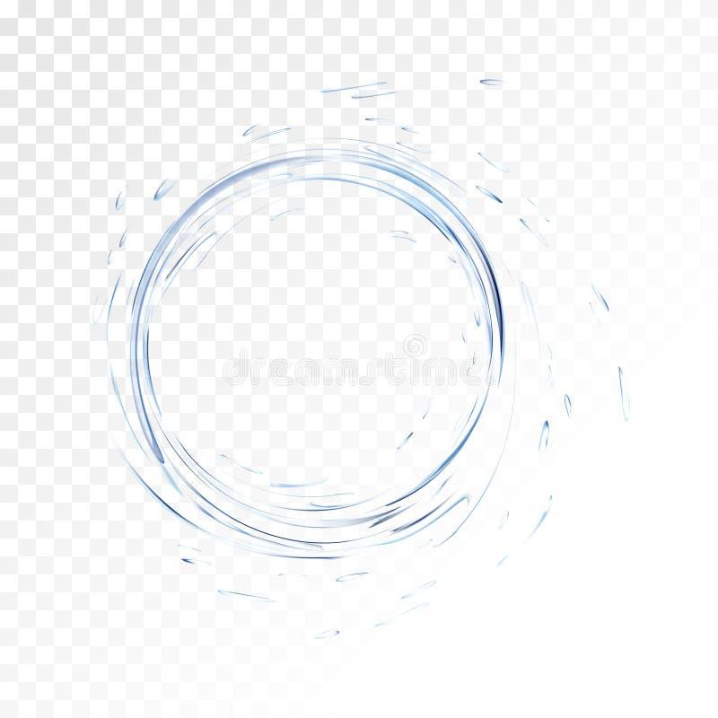 Wasservektorspritzen lokalisiert auf transparentem Hintergrund blauer realistischer Aquakreis mit Tropfen Beschneidungspfad einge lizenzfreie abbildung