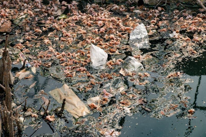 Wasserverschmutzung, alter Abfall und Ölflecken auf Wasseroberfläche stockbild