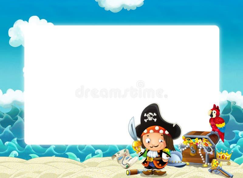 Wasserwellen und Strandrahmen mit kämpfendem Piratenpapageien und -schatz vektor abbildung