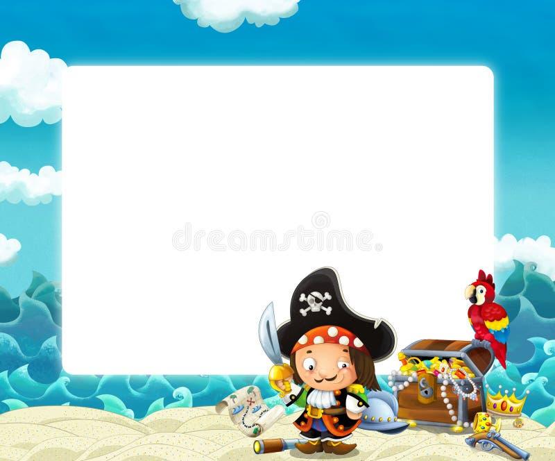 Wasserwellen und Strandrahmen mit kämpfendem Piratenpapageien und -schatz lizenzfreie abbildung