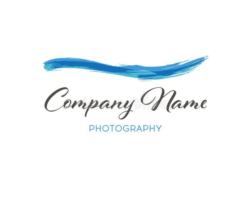 Wasserwellenbürste Logo Template Schmutz-Welle Logo Element Surfende Ikone Geschmierte Stelle lizenzfreie abbildung