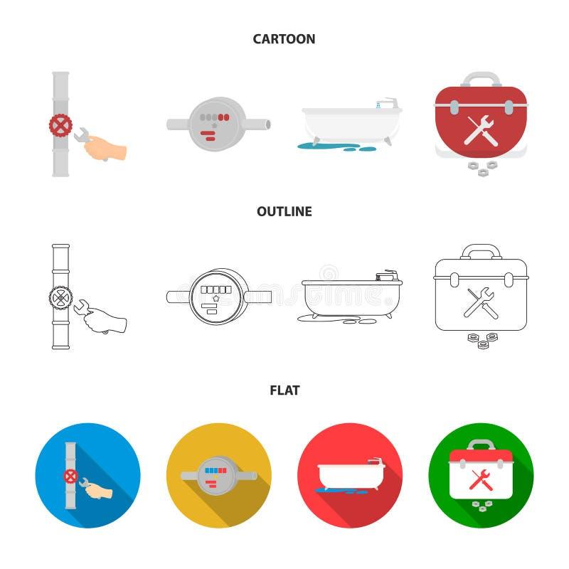 Wasserzähler, Bad und andere Ausrüstung Plombieren von gesetzten Sammlungsikonen in der Karikatur, Entwurf, flacher Artvektor-Sym lizenzfreie abbildung